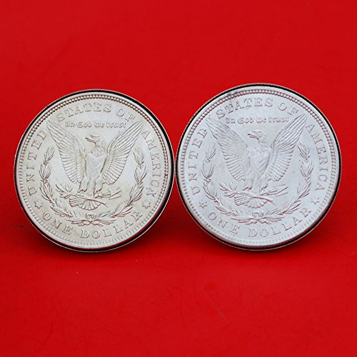 US 1921 Morgan Silver Dollar BU Uncirculated Silver Cufflinks NEW - REVERSE + REVERSE by jt6740