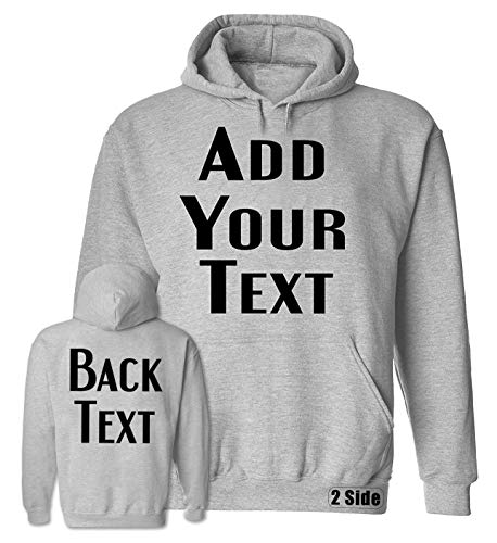 TEEAMORE Men Women Custom Hoodie, Add Your Text, Design Your Own, Front and Back Sport Grey