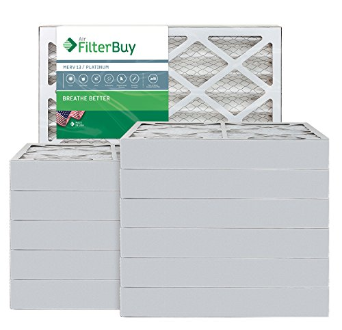 AFB Platinum MERV 13 17x22x4 Pleated AC Furnace Air Filter. Pack of 12 Filters. 100% produced in the USA.