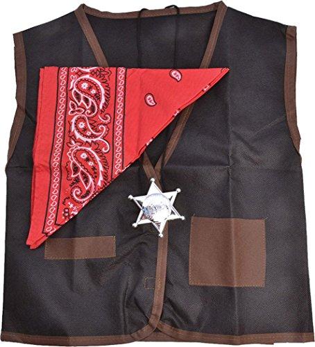 Adult Fancy Dress Costume Outfit Wild West Western Waistcoat/bandana Cowboy Set (Wild Wild West Outfit)