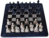 16 Inches Handmade Black and Coral Marble Full Chess set Game Original Marble Chess Sets Come with Free Wooden Velvet Storage Box