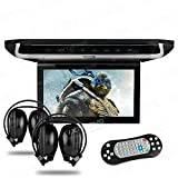 XTRONS® 10'' HD Digital TFT Monitor Car Roof Flip Down Overhead DVD Player Touch Panel Game Disc with HDMI Port IR Headphones