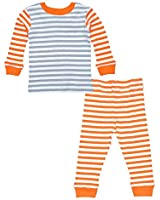 Organic Gray and Orange Stripe Long Johns by Under the Nile