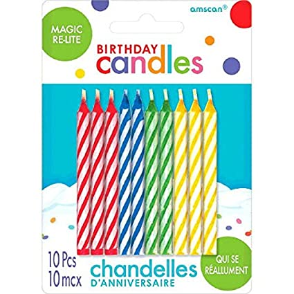 Magic Re-Lite Birthday Candles | Assorted Colors | Pack of 10| Party Supply