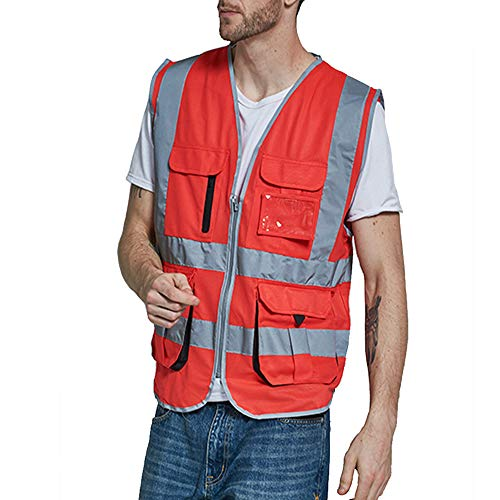 (High Visibility Red Safety Vest Reflective With Pockets For Women And Men |Reflective Safety Vest For Women | Hi Vis Vest With Reflective Stripes |Size M/L/XL/2XL (M, Red))