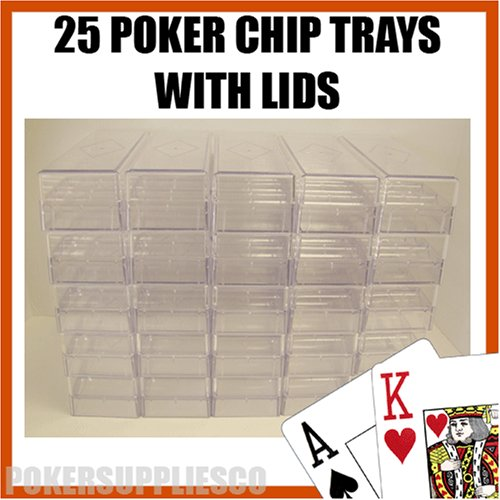 25 Poker Chip Trays with Lids/Covers by Brybelly