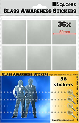 36 SQUARES Glass Awareness Stickers 50mm Etched Effect Frosted Film Patio Doors Shops Office Public Areas