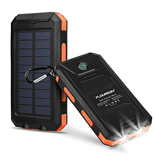 FLOUREON 10,000mAh Power Bank with Solar Chargi...
