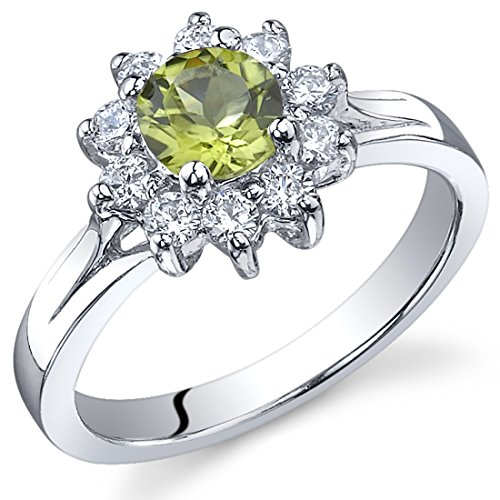Ornate Floral 0.50 carats Peridot Ring in Sterling Silver Rhodium Nickel Finish Size 8 (Ring Floral Ornate)