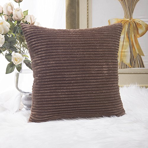 Home Brilliant Solid Supersoft Corduroy Stripes Square Throw