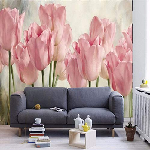 - Dalxsh Custom 3D Wallpaper Tulip Oil Painting Tv Background Wall Murals Hand Painted Wallpaper Living Room Bedroom Hall Mural-250X175Cm