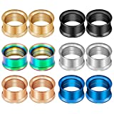 CABBE KALLO 12Pcs Stainless Steel Ear Tunnels Screw Fit Gauge Plugs Set Double Flared Expanders