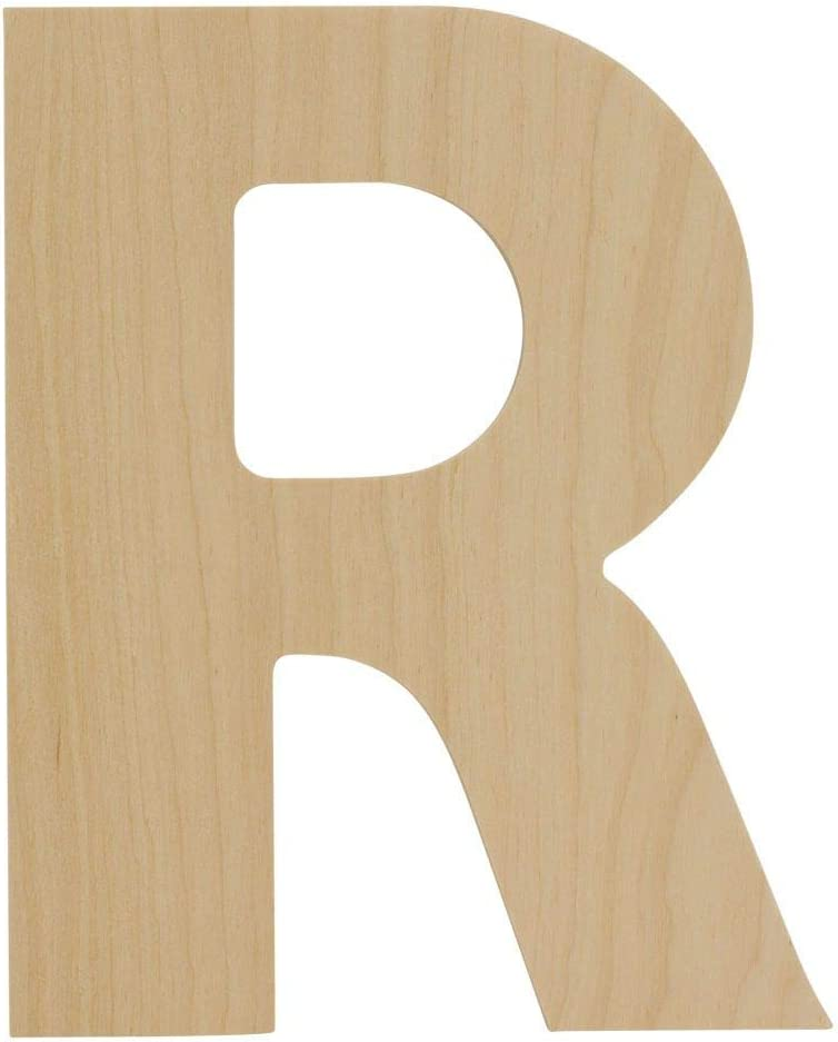 Wooden Letters - R - Unfinished 8 x 6.5 Inch Decorative Craft Monogram for Wedding Parties and Home Décor with Tool Free Adhesive Foam Squares for Hanging - by Woodpeckers