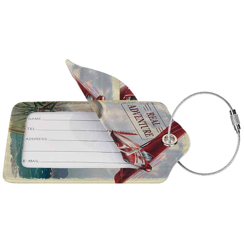 Decorative luggage tag Adventure Real Adventure Quote with Coastline and a Red Airplane Journey Travel Themed Art Suitable for travel Multicolor W2.7 x L4.6