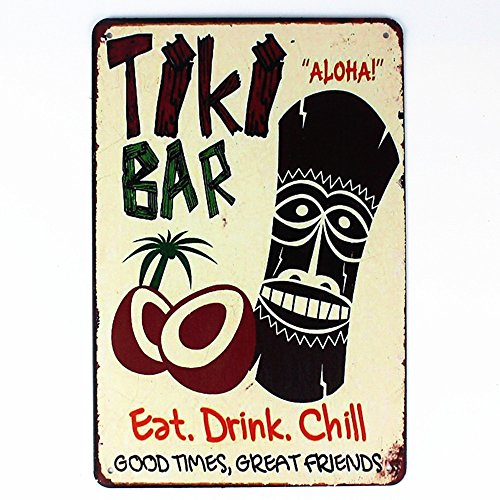 (Mega-Deal Tiki Bar Eat Drink Chill Tin Sign Metal Wall Plaque 12