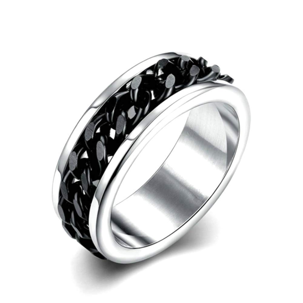 Gift Punk Rotatable Chain Band Ring Titanium Stainless Steel Spinner Jewelry