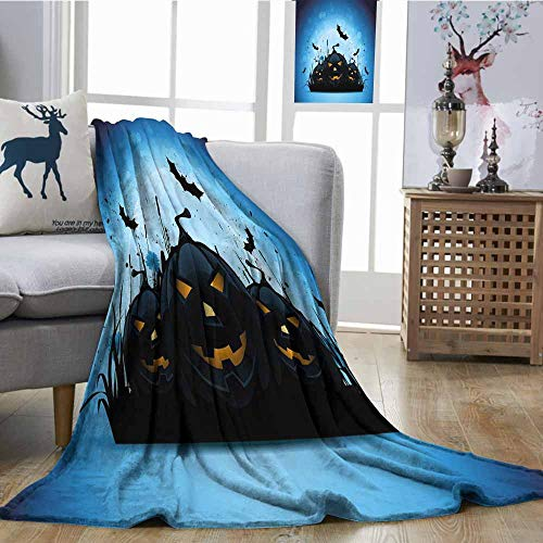 SONGDAYONE Home Blanket Halloween Suitable for Every Season Scary Pumpkins in Grass with Bats Full Moon Traditional Composition Black Yellow Sky Blue W54 xL84