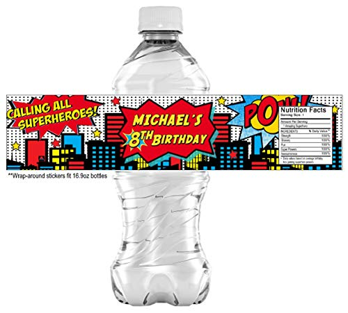 (20 Superhero Water bottle Stickers - PERSONALIZED - Self Adhesive)