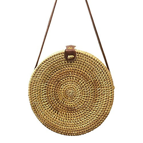 Beach Shoulder No Prosperveil Straw Women Handbag Round Bags Woven Messenger 5 Rattan Summer wzx48qTS