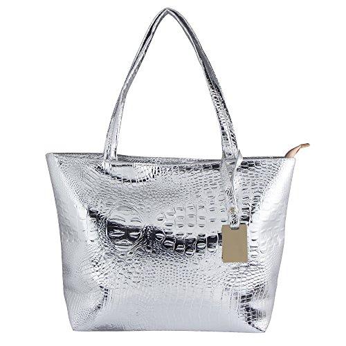 Bagood Womens Crocodile Pattern PU Leather Casual Shopping Handbags High Capacity Shoulder Ladies Soft Bag for Wedding Bridal Prom Party Silver by Bagood