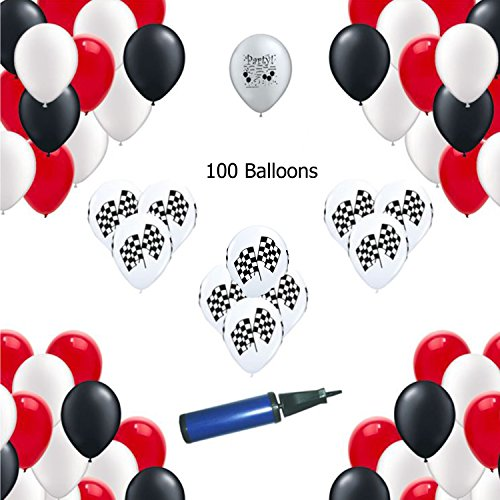 Cars Race Car Party - Red, White, Black - Race Car Party Balloons 100 count