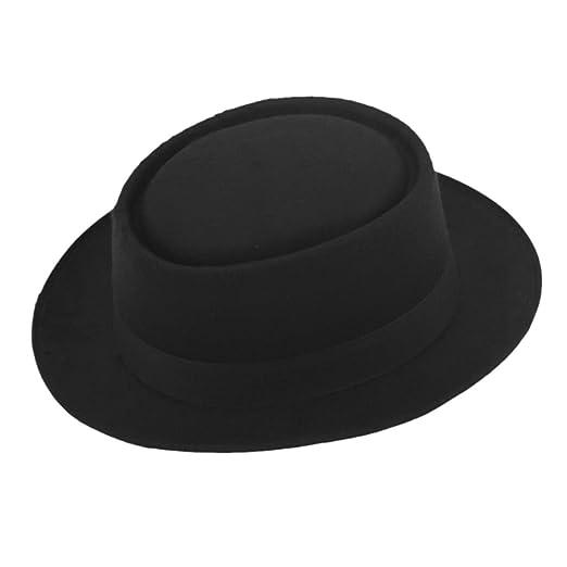 ZHENXIA Vintage Hard Felt Wool Pork Pie Hat Flat Top Rocker Fedora Cap Black 8e0670c6a08