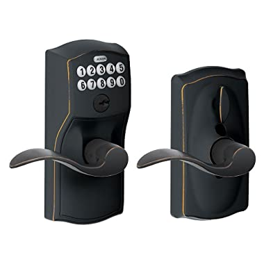 Schlage FE595 CAM 716 Acc Camelot Keypad Entry with Flex-Lock and Accent Levers, Aged Bronze