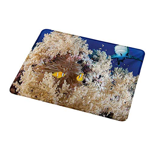 (Anti-Slip Gaming Mouse Mat/Pad Shark,Reef with Little Clown Fish and Sharks East Egyptian Red Sea Life Scenery Food Chain,Blue Cream,Gaming Non-Slip Rubber Large Mousepad 9.8