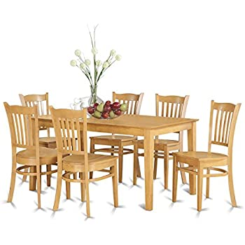 East West Furniture CAGR7 OAK W 7 Piece Dining Table Set