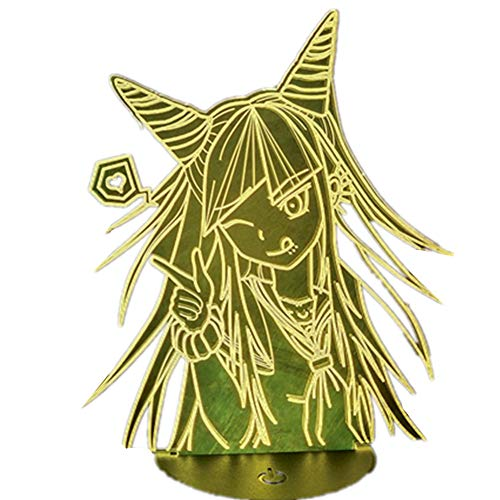 NEW 3D Lamp Anime Danganronpa Mioda Ibuki Figure 3/7/16 Color Illusion Led Lamp Lighting Nightlight Christmas Gifts Children Toys (Remote touch black base)