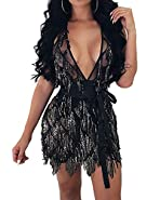 BYSBZD Womens Sexy Backless Sequin Embellished V-Neck Cocktail Party Mini Dress