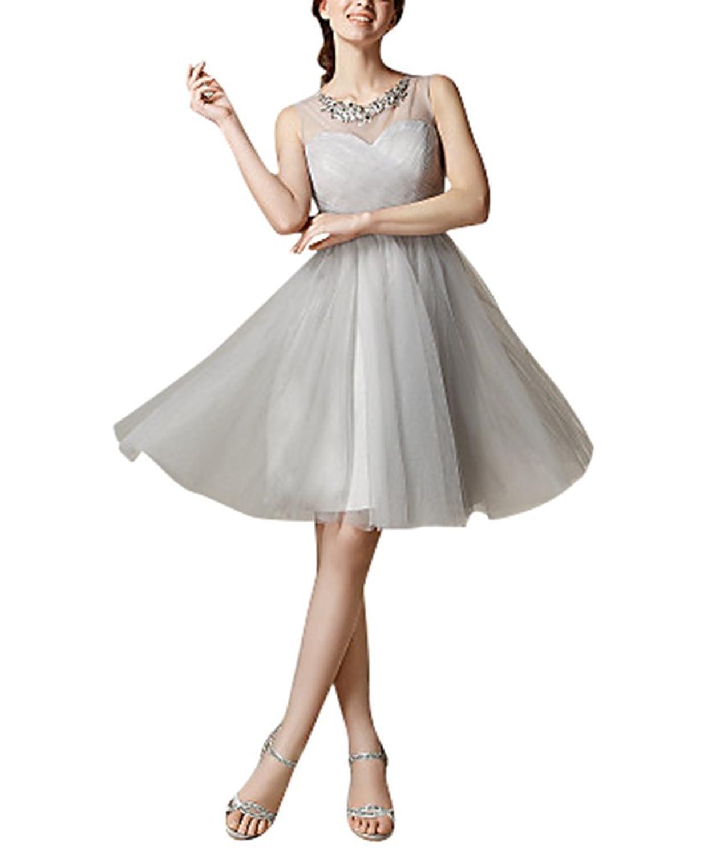 Dream Bride Damen kleid Brautjungfernkleid Partykleid Prinzessin Hochzeit Kleid A-Linie aermellos