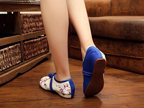 WXT Zapatos bordados de porcelana azul y blanca, lenguado de tendón, estilo étnico, hembrashoes, moda, zapatos de lona cómodos y casuales White
