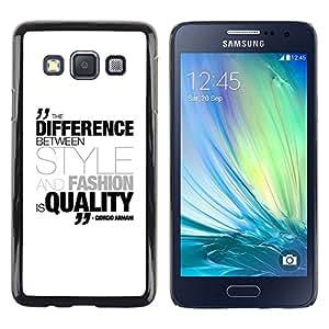 Paccase / Dura PC Caso Funda Carcasa de Protección para - Differenece Style Fashion Quality Quote Armani - Samsung Galaxy A3 SM-A300