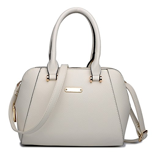 Miss Fashion Bag Beige Leather Satchel Ladies Look Designer Lulu Shoulder Handbag rqprBaO