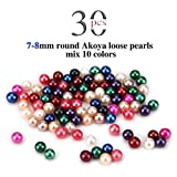 Loose Beads 7-8mm Akoya Round Cultured Saltwater 30PCS, No Holes, Jewelry Making (Mix colors)