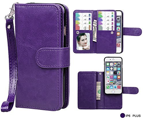 Case for iPhone 6/6S Plus,xhorizon TM FLK Premium Leather Folio Wallet Magnetic Purse Flip Book Style Multiple Card Slots Cash Case Cover for iPhone 6 Plus/6S Plus (Purple)