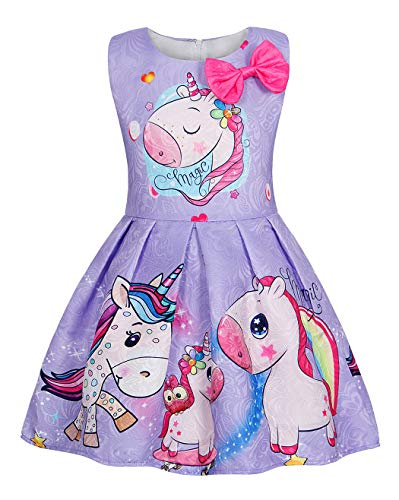 Cotrio Rainbow Unicorn Birthday Girls Outfits Sleeveless Dress Theme Party Fancy Dresses Toddler Kids Stars Bow-Knot Pleated Skirt Size 6 (5-6 Years, Purple, 120)