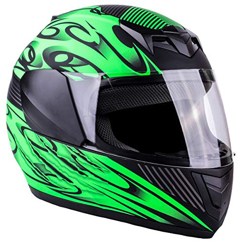 Typhoon Youth Full Face Motorcycle Helmet Kids DOT Street - Matte Green (XL) ()