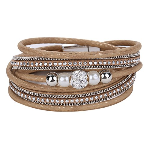 Diamondo Crystal Ball Beads Leather Bracelets Magnetic Multilayer Bangles (Brown)