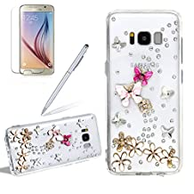 Girlyard For Samsung Galaxy S6 Edge PLUS Diamond Transparent Phone Case Cover Crystal Clear 3D Flower Butterfly Shiny Bling Rhinestone Acrylic PC Back and Slim Soft TPU Gel Bumper Case Cover