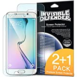 Galaxy S6 Edge Screen Protector - Invisible Defender [FULL COVERAGE][2 FRONT + 1 BACK Films / MAX HD CLARITY] High Definition (HD) Clear Perfect Touch Precision Film with for Samsung Galaxy S 6 Edge