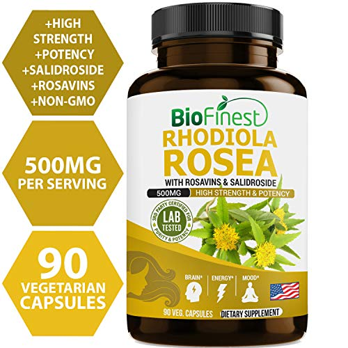 Biofinest Rhodiola Rosea Extract 500mg (Golden Root) - With Rosavins, Salidroside - Non-GMO Organic Rhodiola Supplement For Weight Management, Brain Focus, Performance, Energy (90 vegetarian capsules) (Rhodiola Root Rosea)