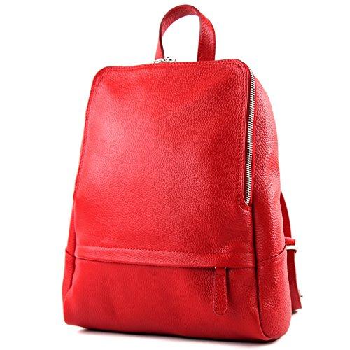 cuir dames Sac dos T138 en à cuir Citybag sac à sac sac à dos en Signalrot dos qI44trC