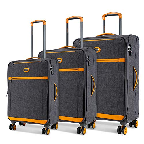 SHOWKOO Luggage Sets Expandable 3 Piece Softshell Lightweight & Durable Suitcase Impact Resistant Double Spinner Wheels TSA Lock ()