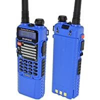 Baofeng Blue UV-5R V2+ w/ 3800mah Extended Battery (USA Warranty) Dual-Band 136-174/400-480 MHz FM Ham Two-way Radio, Improved Stronger Case, Enhanced Features