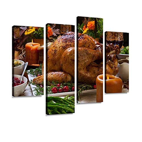 Rustic Thankgiving Dinner Canvas Wall Art Hanging Paintings Modern Artwork Abstract Picture Prints Home Decoration Gift Unique Designed Framed 4 Panel