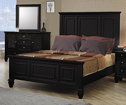 Coaster King Size Bed Cape Cod Style in Black Finish (Cape Cod Bedroom Furniture)