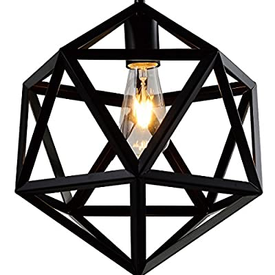 Battaa Wrought Iron Polyhedron Vintage Barn Metal Pendant Chandelier Industrial Loft Lighting with Swag Plug and Hanging Chain and Wire