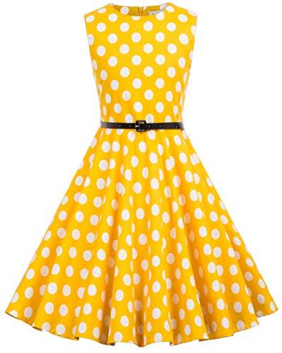 Kate Kasin Girls Sleeveless Vintage Print Swing Party Dresses 6-15 Years (11-12 Years, K250-31) -